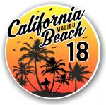 California Malibu Beach 2018 Surfer Surfing Design Vinyl Car Sticker Decal  95x95mm